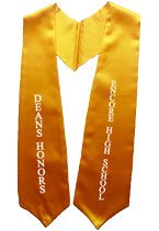 DEANS HONORS Gold Graduation Stole