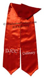 DJCC Culinary Red Graduation Stole