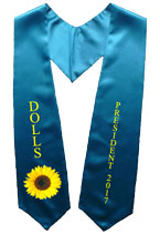 Turquoise Blue Two Side Embroidered Graduation Stole with Logo