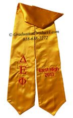 Delta Epsilon Phi Gold Greek Graduation Stole