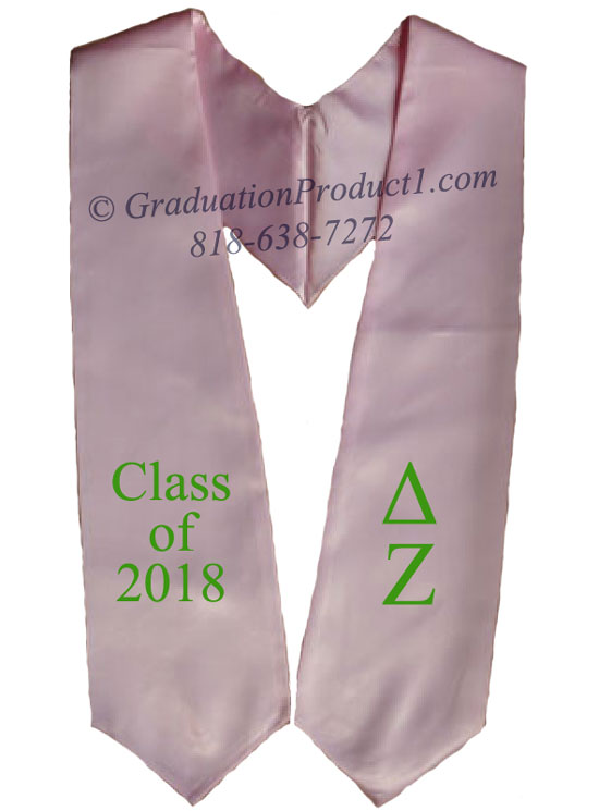 Delta Zeta Light Pink Greek Graduation Stole