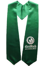 GeoTech Academy Kelly Green Graduation Stole with Logo