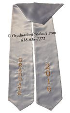 White Two Side Embroidered Graduation Stole
