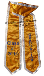 Gold With Royal Blue Trim Embroidered Graduation Stole
