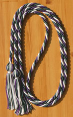 Green, Purple and White Intertwined Graduation Honor Cord
