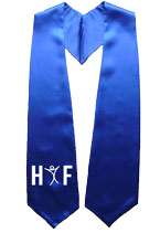 Royal Blue Two Side Embroidered Graduation Stole with Logo