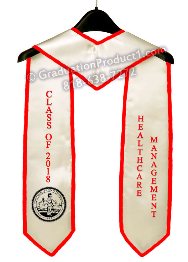 Healthcare Management White Graduation Stole With Red Trim