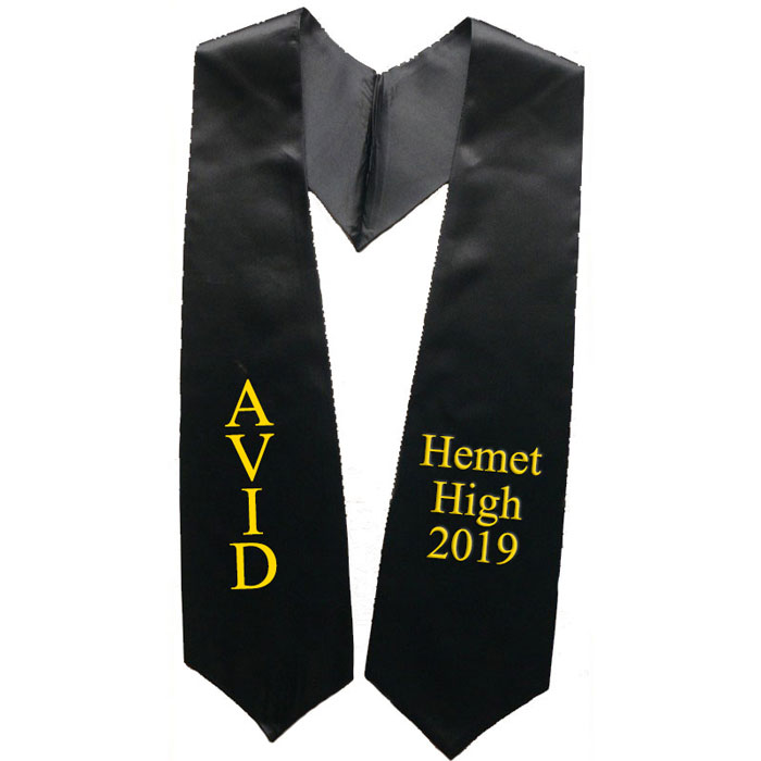 Avid Hemet High 2017 Black Graduation Stole