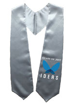 Silver Two Side Embroidered Graduation Stole with Logo