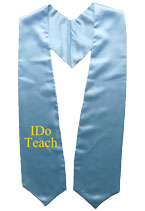 Light Blue One Side Embroidered Graduation Stole