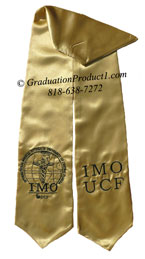 Old Gold Two Side Embroidered Graduation Stole with two side Logo