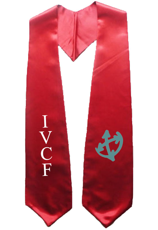 Ivcf Red Graduation Stole With Logo