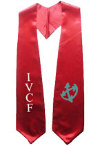Red Two Side Embroidered Graduation Stole with two side Logo