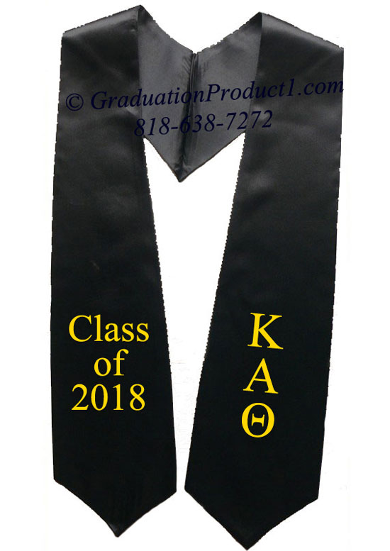 Kappa Alpha Theta Black Greek Graduation Stole