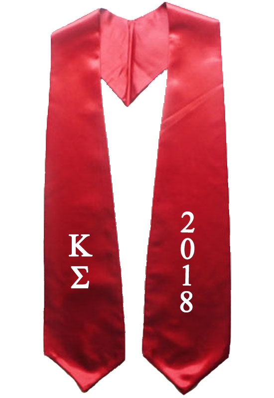 Red Twoside Embroidered Graduation Stole