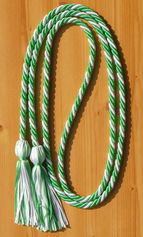 Kelly Green And White Intertwined Honor Cord