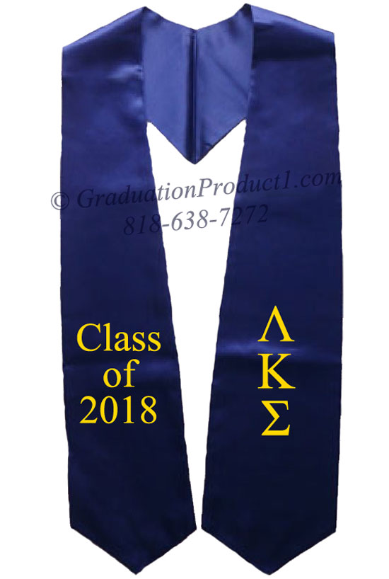 Lambda Kappa Sigma Navy Blue Greek Graduation Stole
