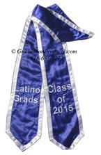 Lationo Grads Royal Blue Graduation Stole with White trim
