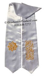 UC Berkeley MSA White Graduation Stoles With Logo