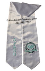 White Two Side Embroidered Graduation Stole with two side Logo