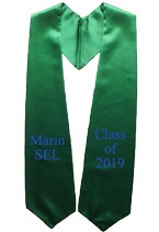 Marin Sel Kelly Green Two Side Embroidered Graduation Stole