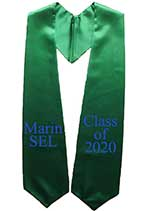 Marin Sel, Class of 2021 Kelly Green Embroidered Graduation Stole