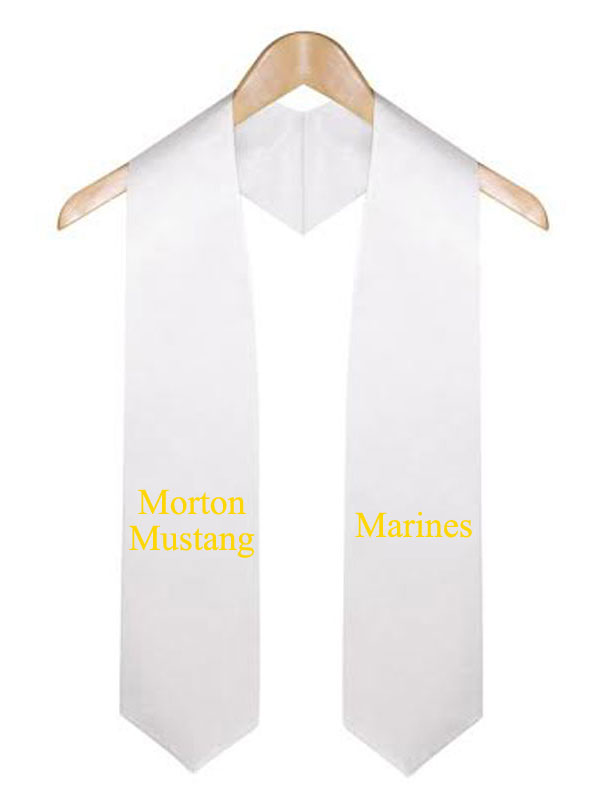Morton Mustang White Graduation Stole