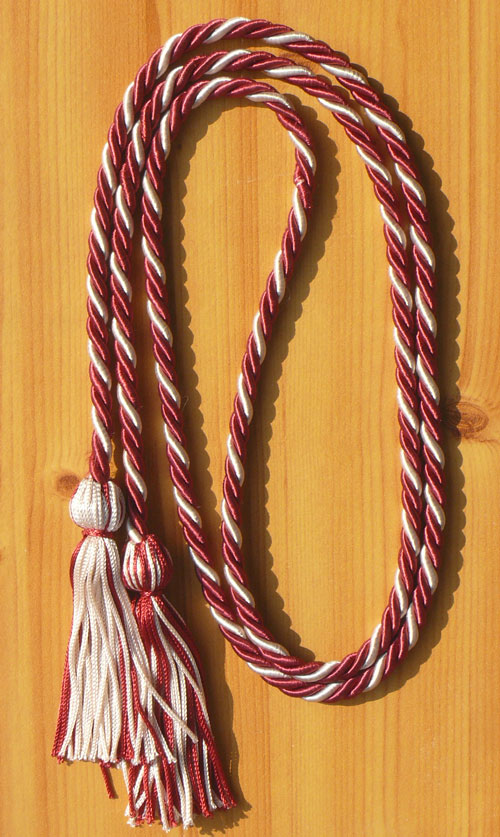 Maroon And Silver Intertwined Honor Cord