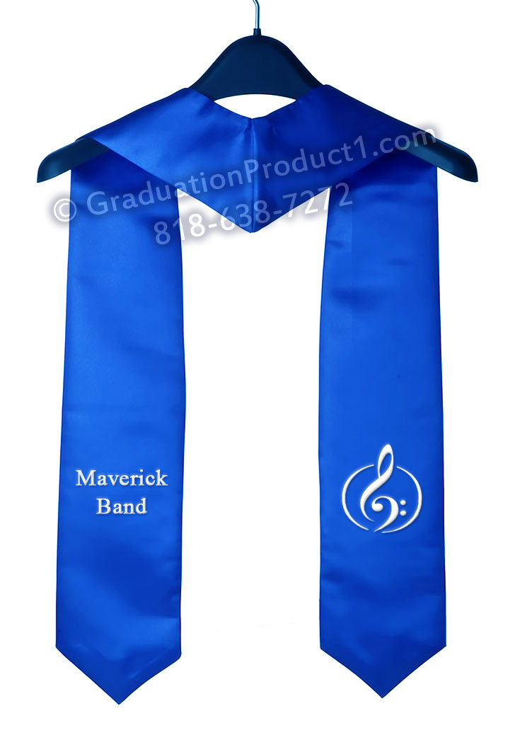 Maverick Band Royal Blue Graduation Stole