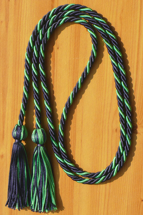 Navy Blue And Kelly Green Intertwined Honor Cord