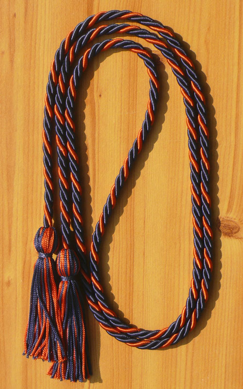 Navy Blue And Orange Intertwined Honor Cord