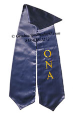 NavyBlue One Side Embroidered Graduation Stole