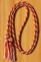Orange & Silver Intertwined Graduation Honor Cord