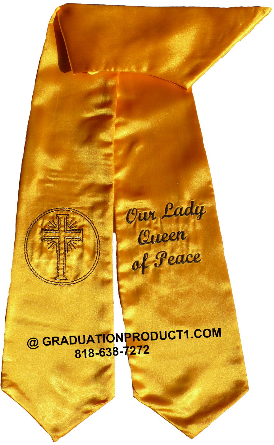 Our Lady Queen Of Peace Gold Graduation Stole With Logo