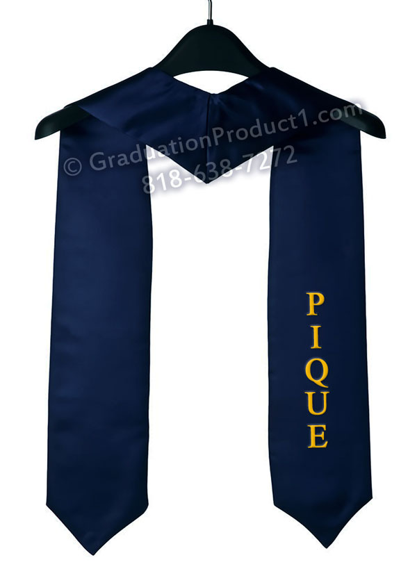 Pique Navy Blue Graduation Stole