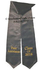 Peer Assistance black graduation stole