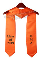 Phi Mu Delta Orange Custom Graduation Stole