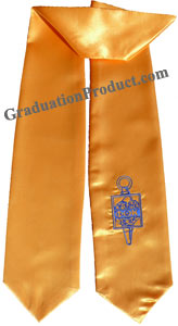 Gold Two Side Embroidered Graduation Stole with Logo