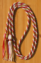 Red, Metallic Gold and White Intertwined Graduation Honor Cord