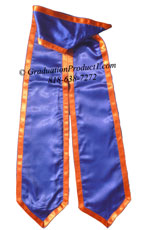 Royal Blue Graduation Stole with Orange Trim