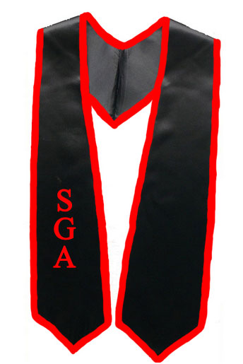 Sga Black Graduation Stole With Red Trim