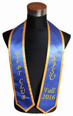 Royal Blue Custom Graduation Stole with gold trim