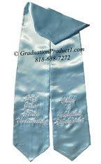 Light Blue Two Side Embroidered Graduation Stole