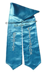 Senior Citizens Turquoise Blue Graduation Stole