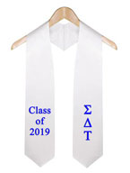 Sigma delta Tau White Greek Graduation Stole