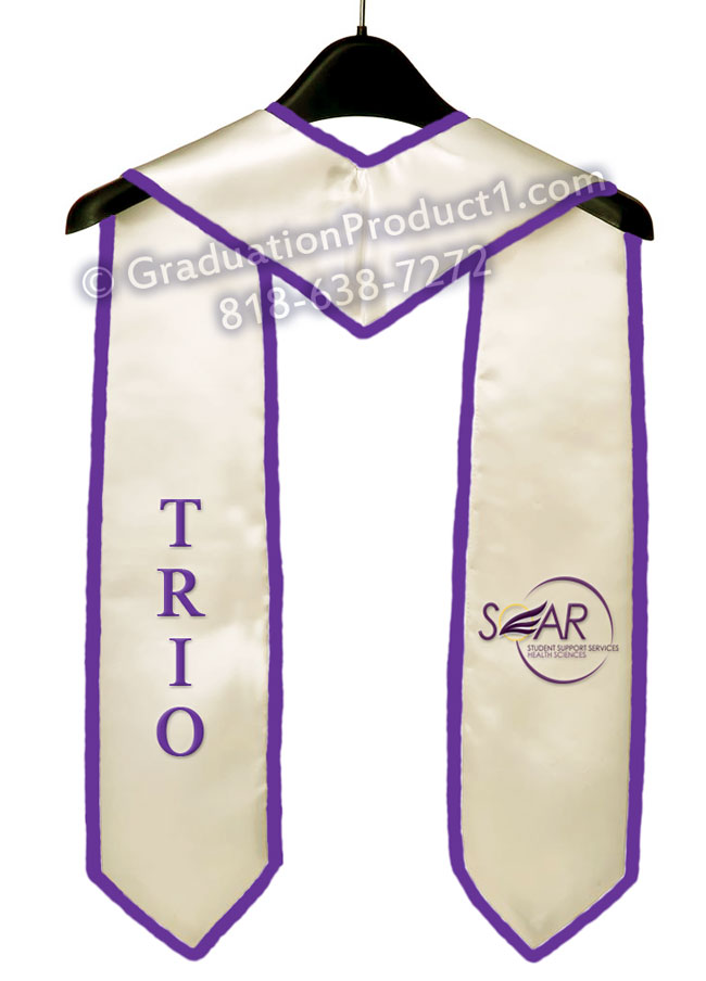Soar Trio White Graduation Stole With Purple Trim