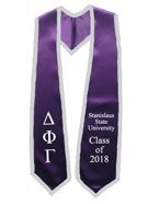 Stanislaus State University Purple Graduation Stole With Silver Trim
