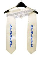 Student Athlete White Graduation Stole