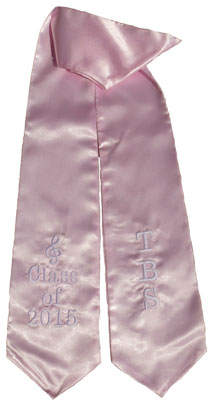Pink Two Side Embroidered Graduation Stole