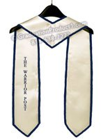 The Warrior Post White Graduation Stole with trim